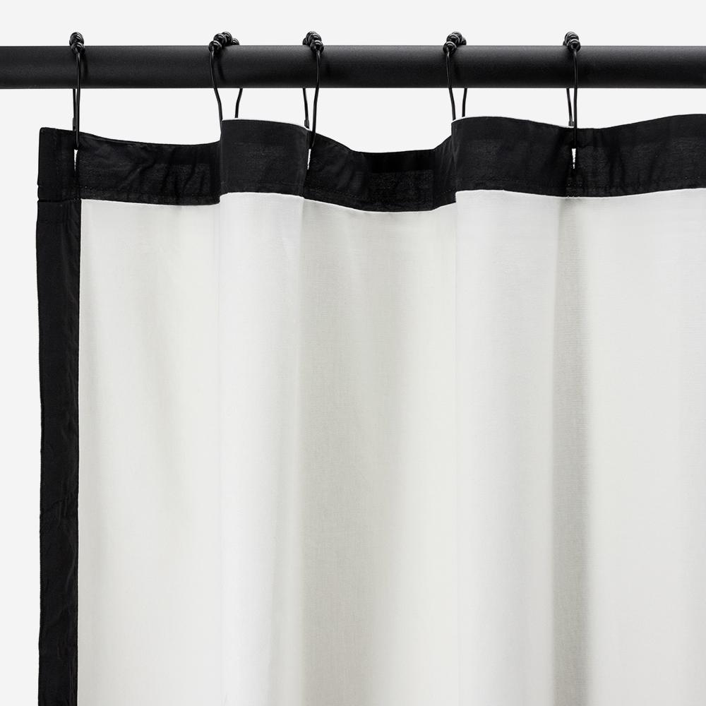 Rideau de douche écru et noir - SMART- 016654 - BathBazaar