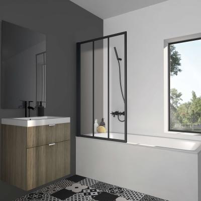 Pare baignoire atelier noir 80 x 140cm - Turin - 016697 - Bath Bazaar