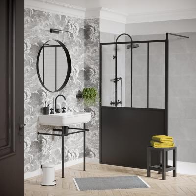 Pare douche atelier type verrière noir Turin - 016692 - Bath Bazaar